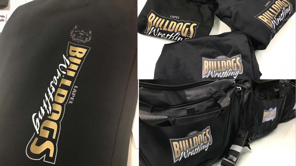 Sweatpants, shirts, hoodies, shirts and duffle bags we designed and printed for the Lapel Bulldogs Wrestling Team.