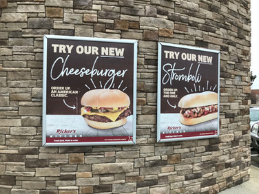 We have worked with Rickers for a number of years printing their window signs as well as their outdoor signs.