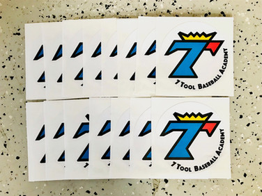 Decals/Stickers that we printed for 7 Tool Baseball Academy