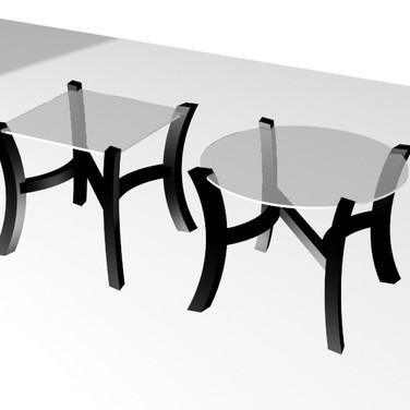 Авторский кофейный столик N-Glass (square + round)