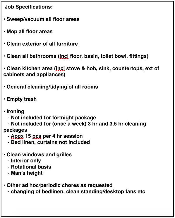 Cleaning Ninja SG Job Specifications