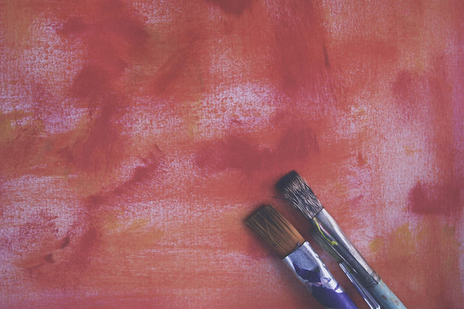 Red Painting and Brushes