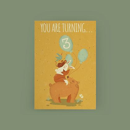 """Animal Tower 3rd Birthday"" Card"