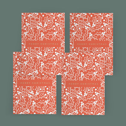"""""""Red Holly Christmas"""" Card Set"""