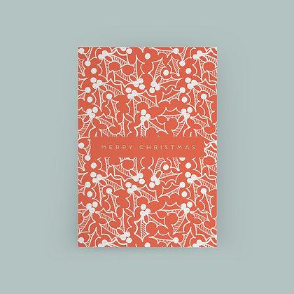 Typoriginal x Fossdesign Red Holly Christmas Card Grußkarte