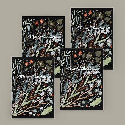 """Black Botanical Christmas"" Card Set"