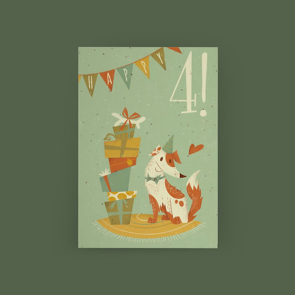 """Dog Party 4th Birthday"" Card"