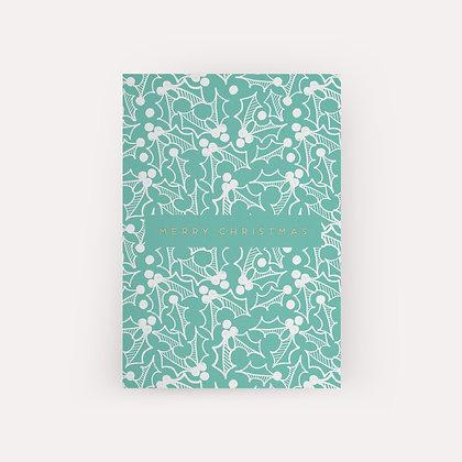 Typoriginal x Fossdesign Green Holly Christmas Card Weihnachtskarte