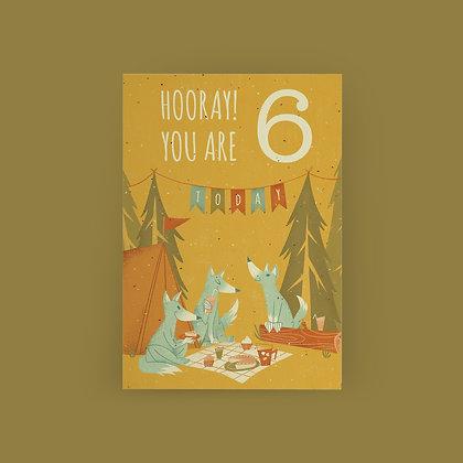 """Wolf Picnic 6th Birthday"" Card"