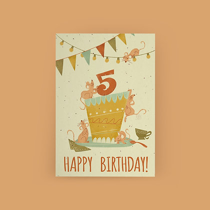 """Mice Celebration 5th Birthday"" Card"