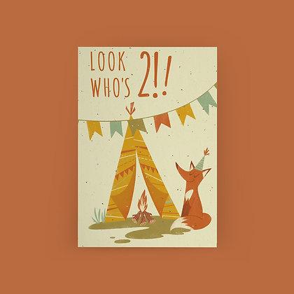 """Camping Fox 2nd Birthday"" Card"