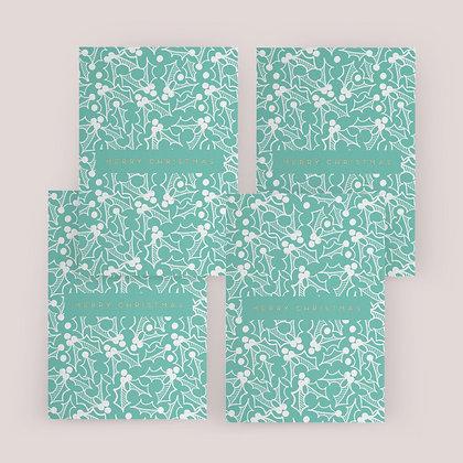 """Green Holly Christmas"" Card Set"