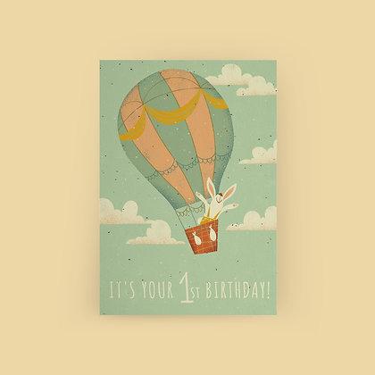 """Bunny Balloon 1st Birthday"" Card"