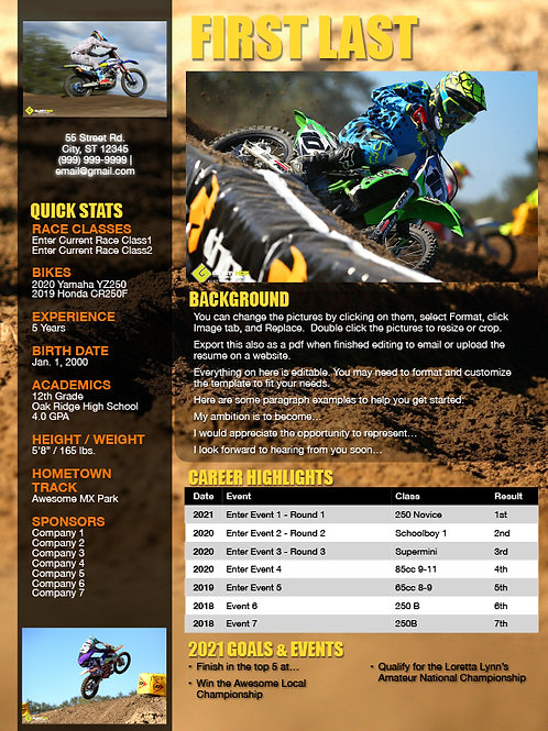 Motocross Resume Template Rut Background - Pages