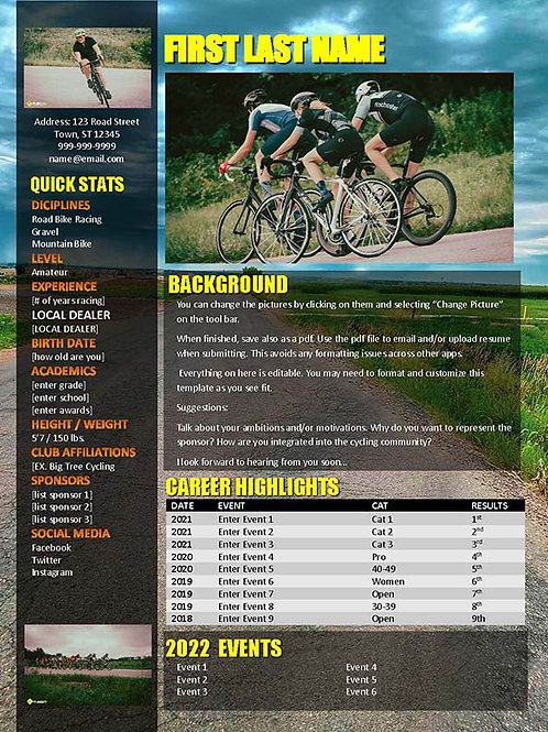 Cycling Resume Template 2 - Road Background