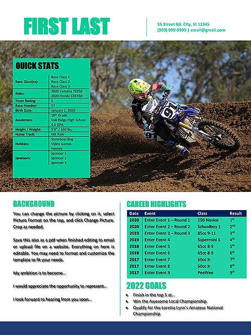 Motocross Resume Template Design 8