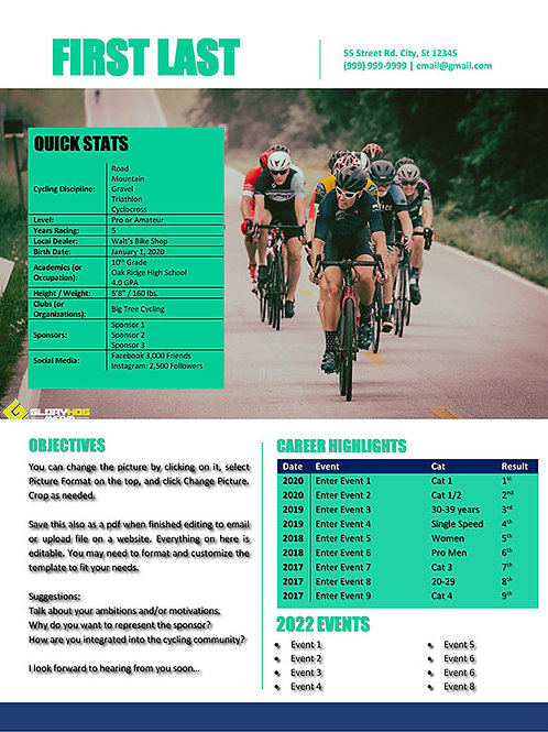 Cycling Resume Template 1