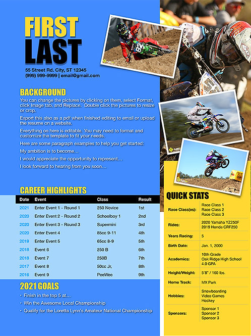 Motocross Resume Template Design 5 - Pages