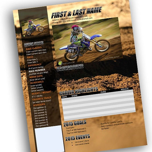 Motocross Resume Template Rut Background