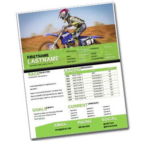 Motocross Resume Template Design 1
