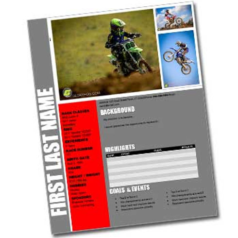 Motocross Resume Template Design 2