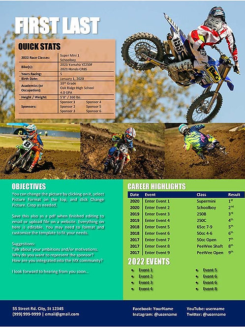 Motocross Resume Template 9