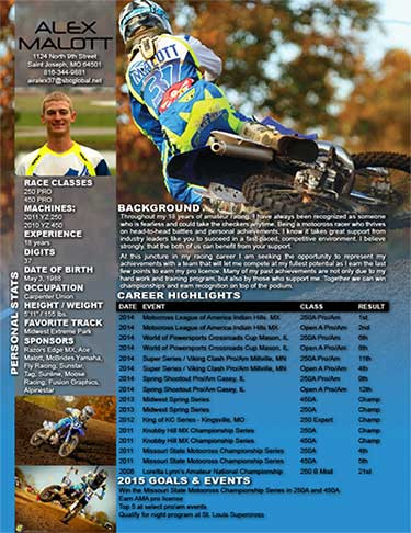 Resume for Motocross Racing