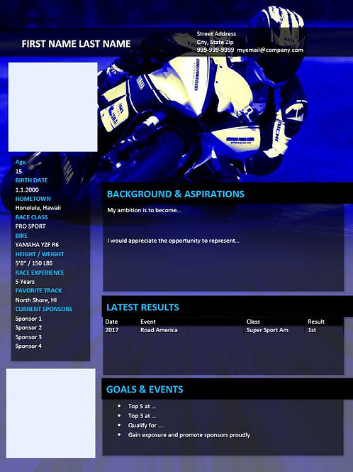 Road Racing Resume Template Blue - MS Word