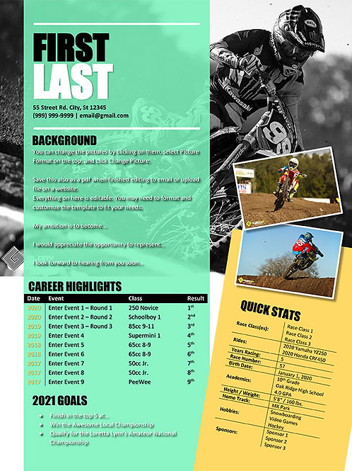 Motocross Resume Template Design 6