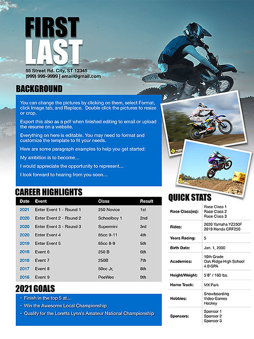 Motocross Resume Template Design 4 - Pages