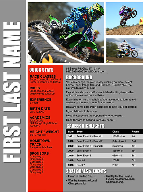 Motocross Resume Template Design 2  - Pages