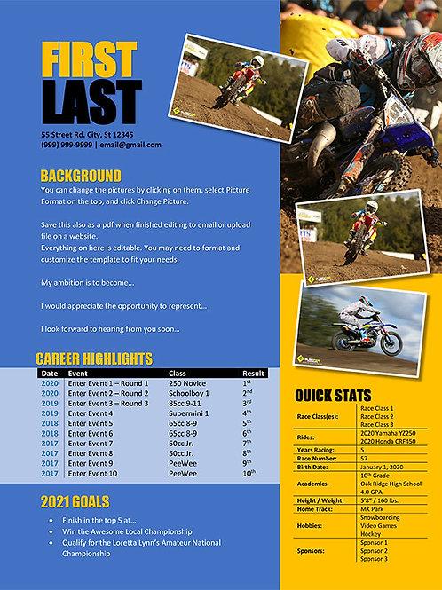 Motocross  Resume Template Design 5