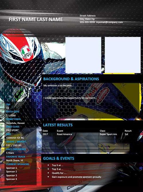 Road Racing Resume Template 2 - MS Word