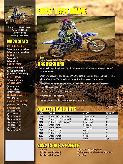 Motocross Resume Template Rut Background