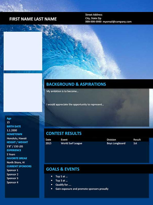 Surfing Resume Template 2 - MS Word