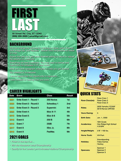 Motocross Resume Template Design 6  (Pages)