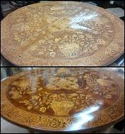 Restauración mesa holandesa y barnizado a muñequilla