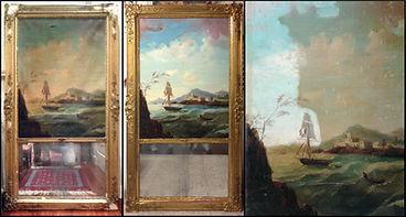 Restauración espejo Trumeau y limpieza de lienzo