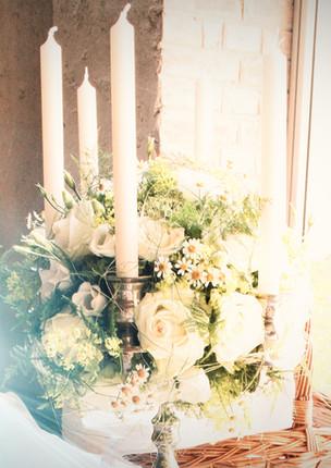Fellner Blumen Hochzeitsfloristik Kerzengesteck