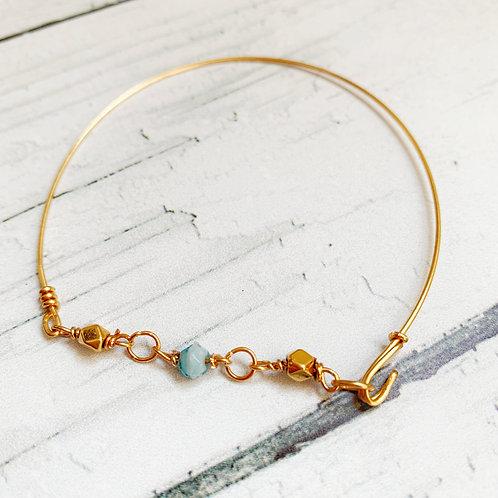 Jonc doré à perles BLUE & GOLD