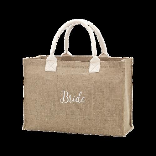 Burlap Tote Embroidered BRIDE In White Thread