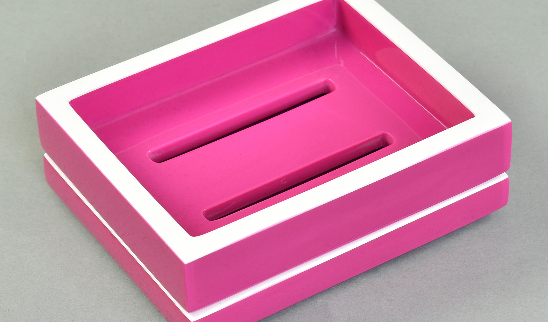 Hot Pink with White- Soap Dish