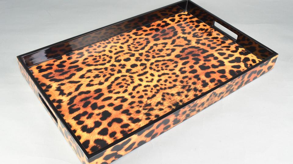 Cheetah with Black Trim- Breakfast Tray