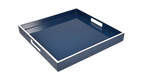 "Navy Blue White Trim- 16"" Square Tray"