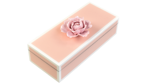 Five Side Paris Pink with White Pink , Pink Porcelain Flower- Pencil Handle Box