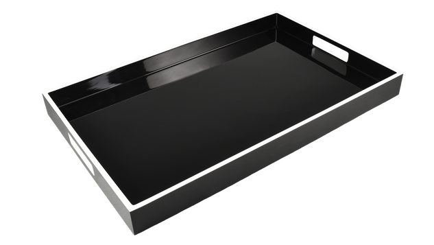 Black with White Trim- Breakfast Tray