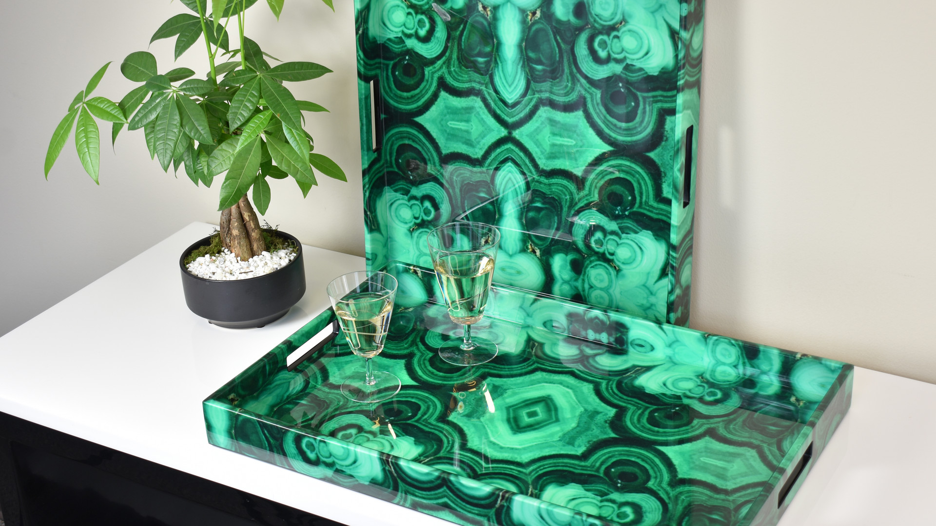 Square Tray & Breakfast Tray - Malachite