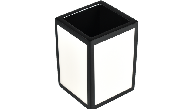 White with Black Trim- Brush Cup