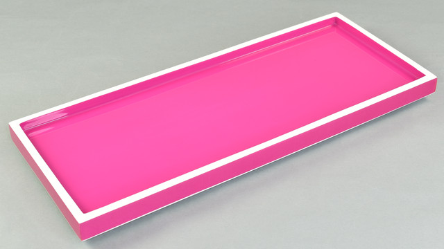 Hot Pink with White- Long Vanity Tray