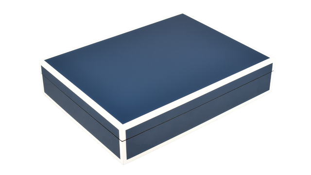 Five Side Navy Blue with White- Stationery Box